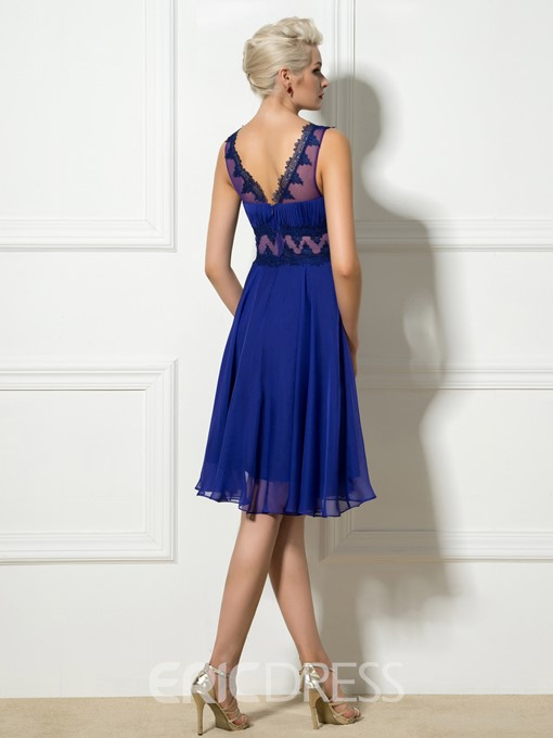 Ericdress V-Neck Sleeveless Appliques Short A-Line Cocktail Dress