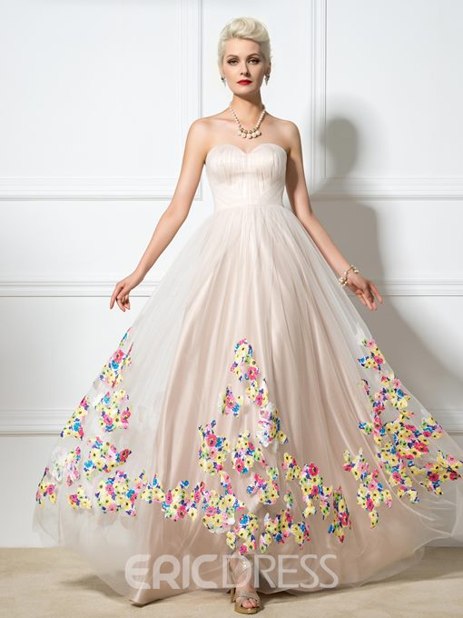 Ericdress Sweetheart A-Line Floor-Length Print Prom Dress