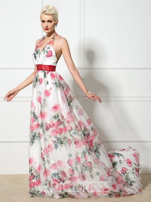 Ericdress Halter Floor-Length Ribbon Floral Print Evening Dress