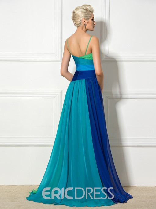 Ericdress Spaghetti Straps Contrast Color Beaded A-Line Long Evening Dress