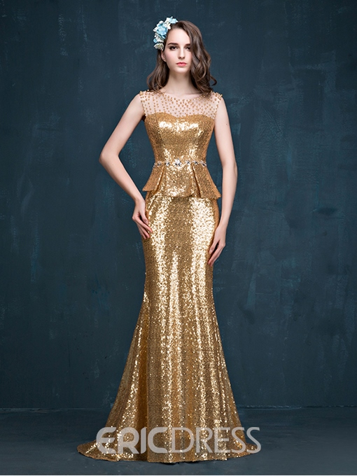 Ericdress Mermaid Peplum Beading Reflective Evening Dress