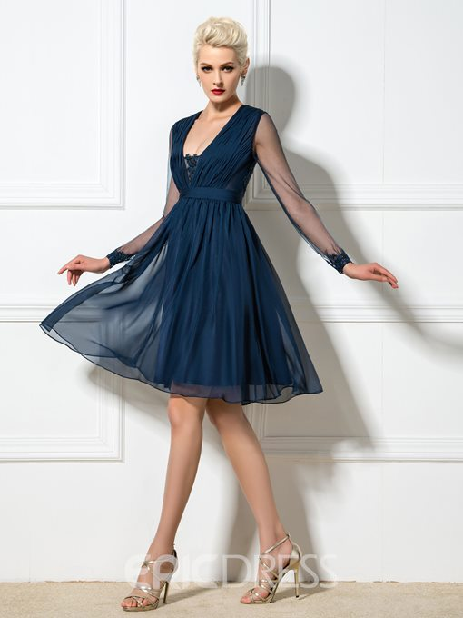 Ericdress Deep-V Neck A-Line Cocktail Dress With Long Sleeve