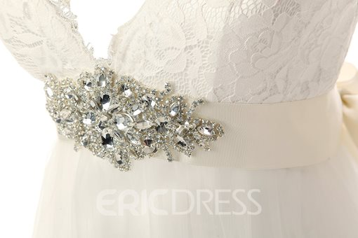 Ericdress Beading Appliques Cap Sleeves Beach Wedding Dress