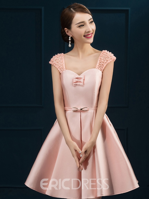 Ericdress Cap Sleeve Pearl A-Line Short Homecoming Dress