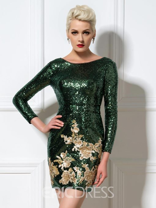 Ericdress Long Sleeves Sequins Cocktail Dress