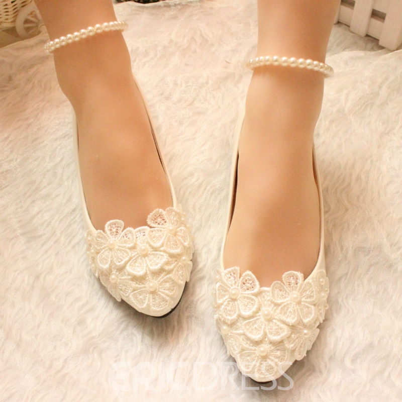 Ericdress Handmade Pearl Wedding Flats