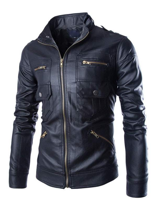 Ericdress Lapel Solid Color Multi-Zipper Men's Jacket