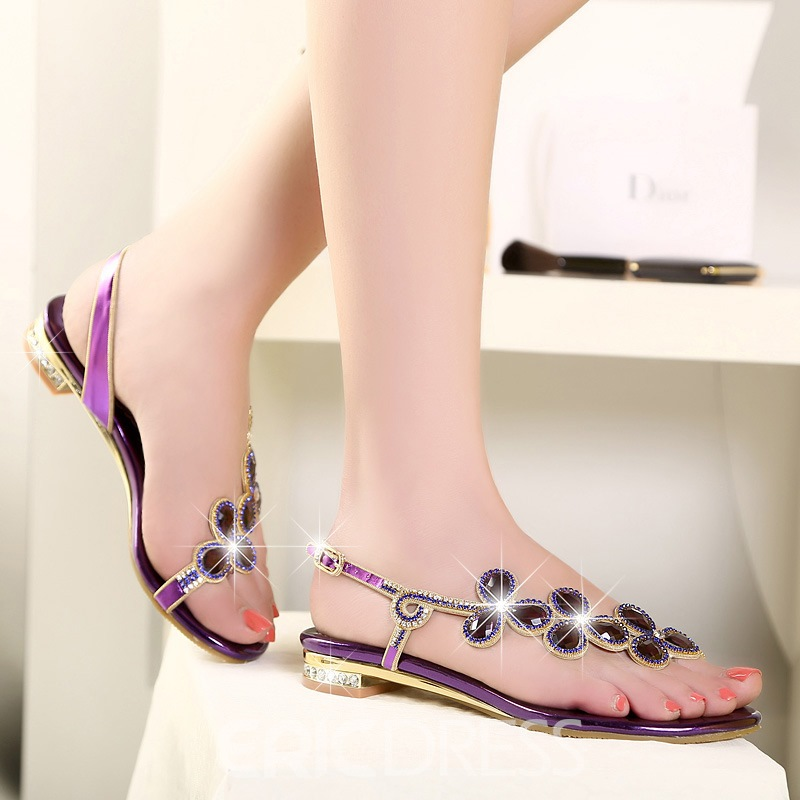 Ericdress Rhinestone Open-Toe Thong Sandals