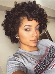 Ericdress Human Hair Kinky Curly Lace Front Wigs 10 Inches