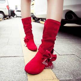 Ericdress Bowknot Decoration Mid-Calf Flat Boots
