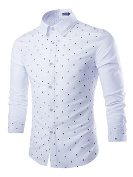 Ericdress Lapel Polka Dots Long Sleeve Slim Men's Shirt