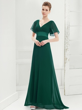 Ericdress Short Sleeve A-Line V-Neck Long Evening Dress