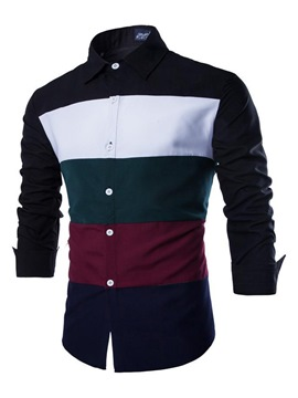 Ericdress Color Block Stripe Patchwork Men's Shirt
