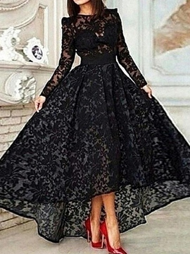Ericdress A-Line Long Sleeve Asymmetrical Lace Evening Dress Black Wedding Dresses