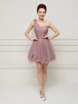 Erikdress One-Shoulder-A-Linie Schnür-Bowknot Cocktailkleid