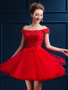 Ericdress Off-The-Shoulder dentelle paillettes court Homecoming robe