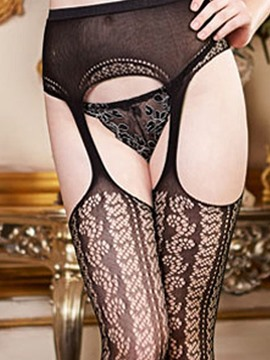 Ericdress Hollow Black Embroidery Stocking