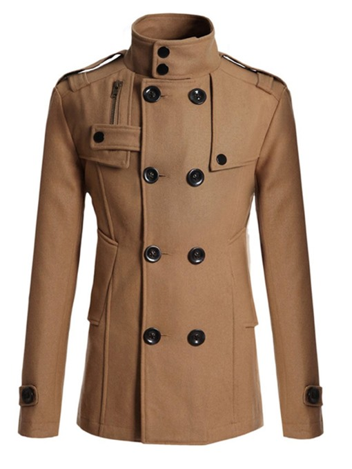 Ericdress Plain Double-Breasted Stand Collar Men's Peacoat