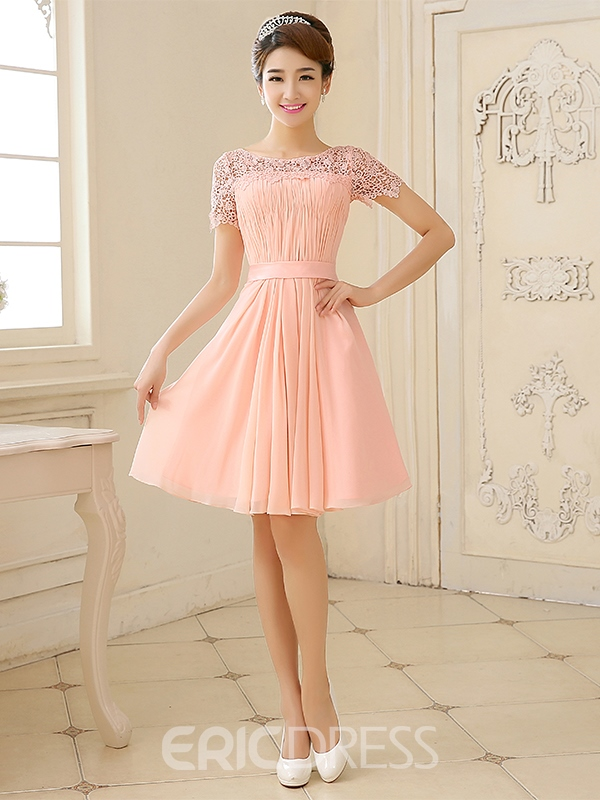 Ericdress Scoop Half Sleeve A-Line Knee-Length Homecoming Dress