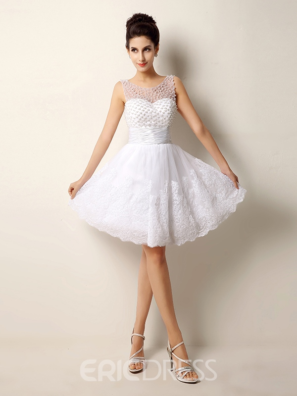 Ericdress Pearls Appliques Short Wedding Dress