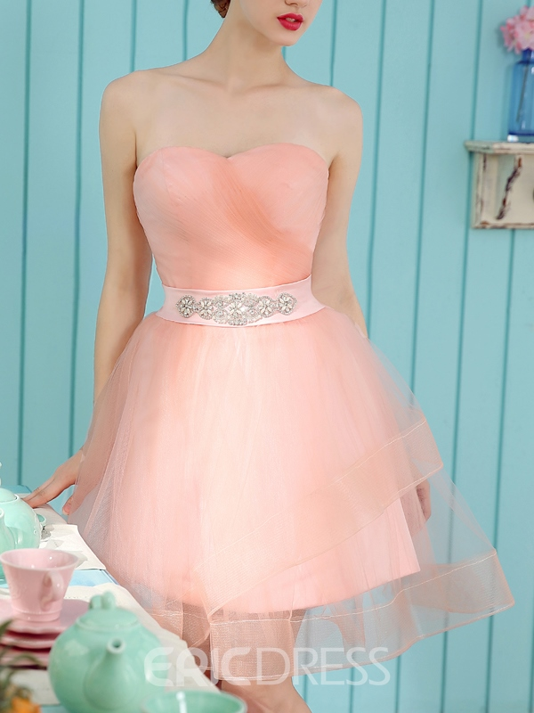 Ericdress A-Line Sweetheart Ruched Crystal Mini Homecoming Dress