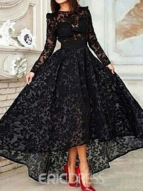 Ericdress Long Sleeve A-Line Asymmetrical Length Lace Evening Dress