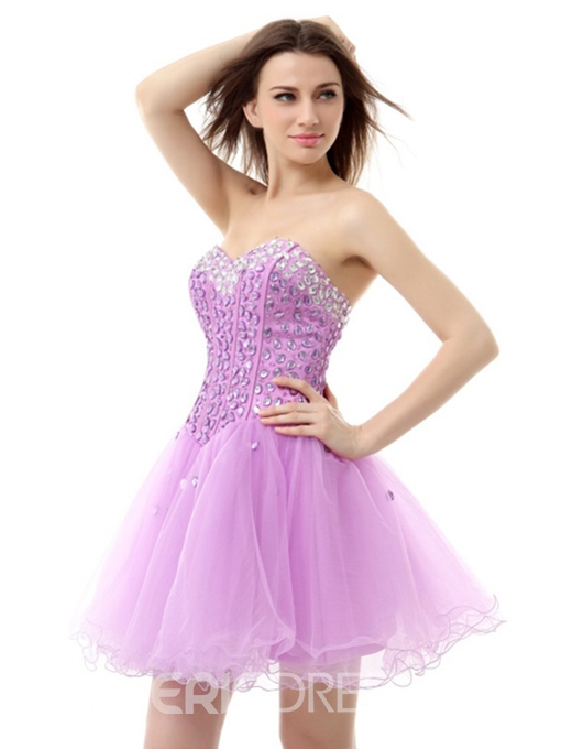 Ericdress Sweetheart Beaded Lace-Up Short Homecoming Dress