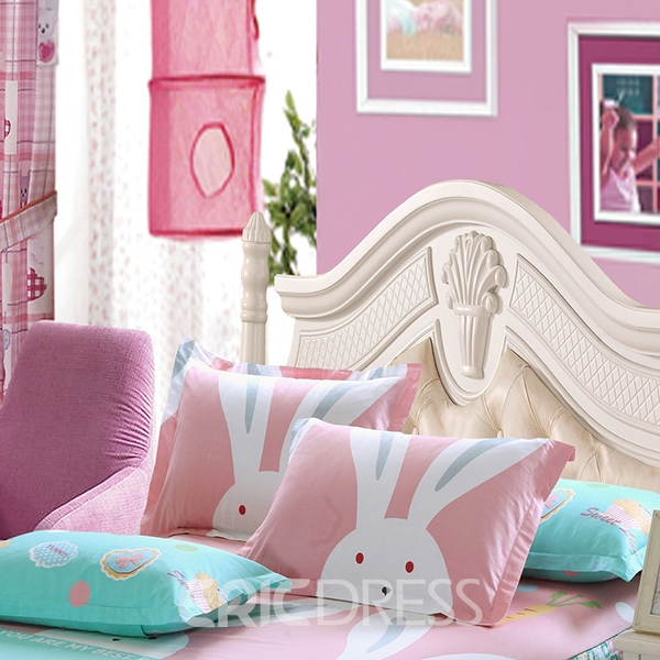 Vivilinen Rabbits Pattern Cotton 4-Piece Pink Kids Duvet Covers/Bedding Sets