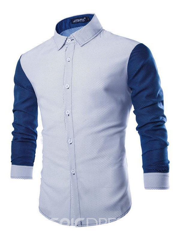 Ericdress Patchwork Long Sleeve Men's Shirt