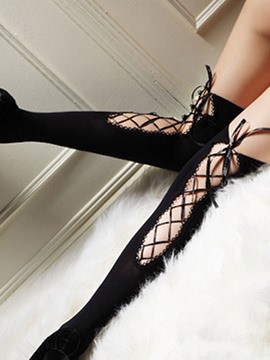 Ericdress Lace-UP Hollow Black Stocking