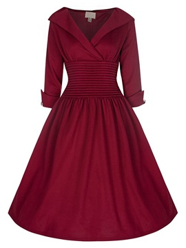 Ericdress Rockabilly Style Three-Quarter Sleeves A Line Dress