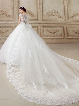 Ericdress Scoop Neck Appliques Ball Gown Wedding Dress