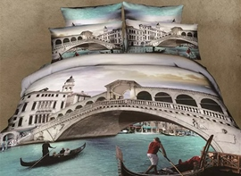 Creative Small Town of Venice 4-Piece Cotton Duvet Cover Sets