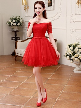 Ericdress Off-The-Shoulder A-Line Short Homecoming Dress