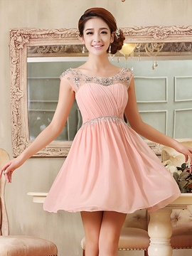 Ericdress bijou cou perles Ruffles Dress Homecoming court