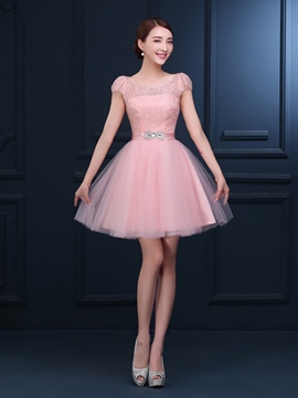 Ericdress Cap Sleeve perles Homecoming robe en dentelle