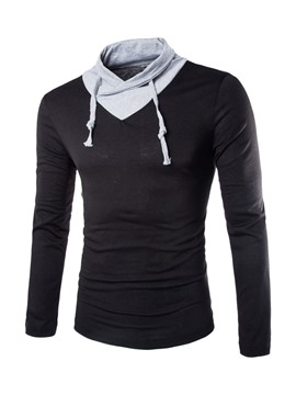 Ericdress Color Block Collar Lace-Up Men's Hoodie