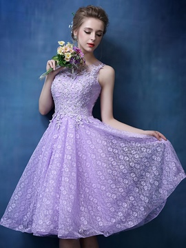 Ericdress Appliques lacets court Homecoming robe