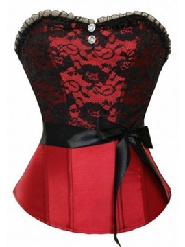 Ericdress Lace Patched Diamonds Bowknot Decorated Corset