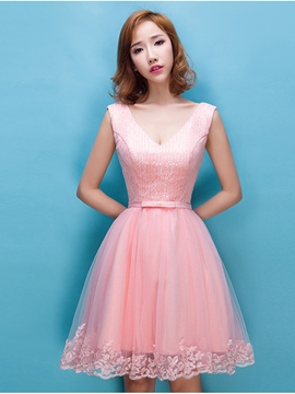 Ericdress V-Neck Lace Sequins Homecoming Dress