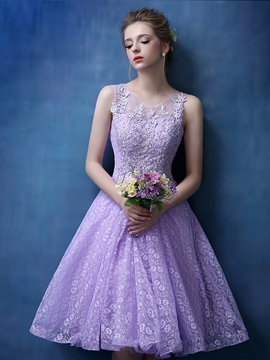 Ericdress Appliques Lace-Up Lilac Homecoming Dress