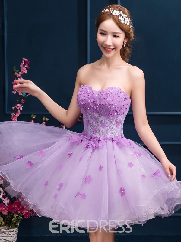 Ericdress Sweetheart Appliques Beading Short Homecoming Dress