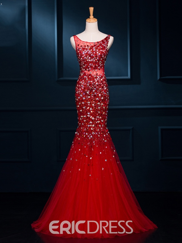 Ericdress Scoop Beading Mermaid Long Evening Dress