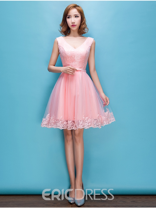 Ericdress v-cou dentelle Sequins Homecoming robe