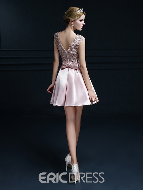 Ericdress A-Line Lace Bowknot Short Homecoming Dress