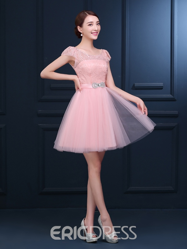 Ericdress Cap Sleeve Beaded Lace Homecoming Dress