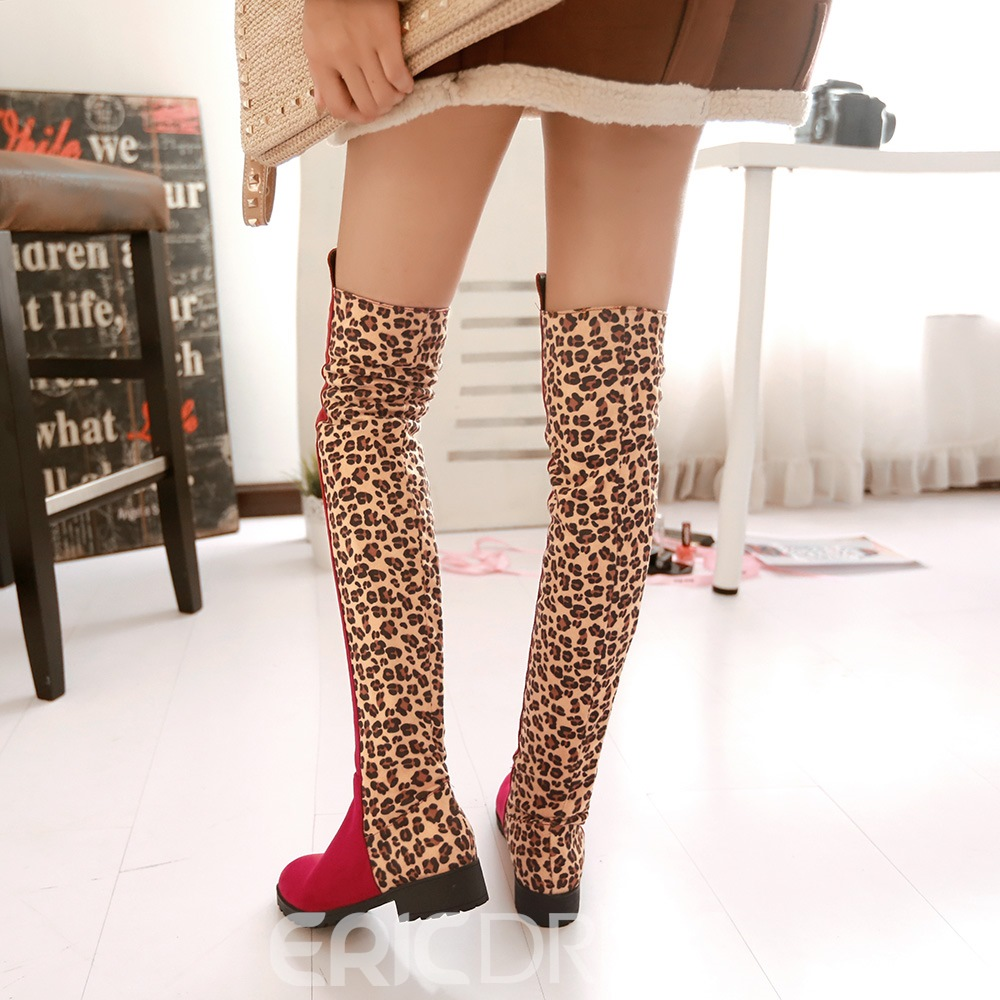 Ericdress Amazing Leopard Patchwork Knee High Boots