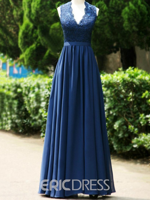 Ericdress Elegant V Neck Appliques Backless Long Bridesmaid Dress