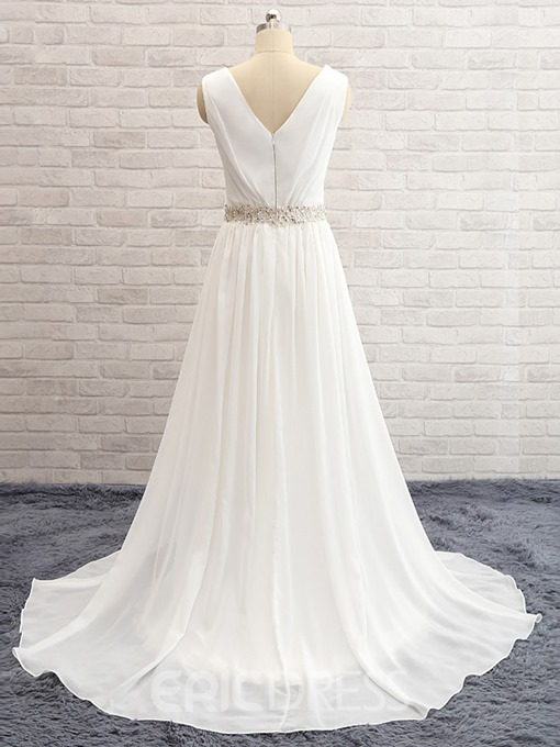 Ericdress V Neck Split Front Beach Wedding Dress