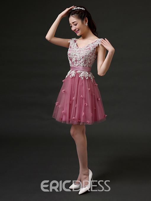 Ericdress A-Line Appliques Lace Short Homecoming Dress